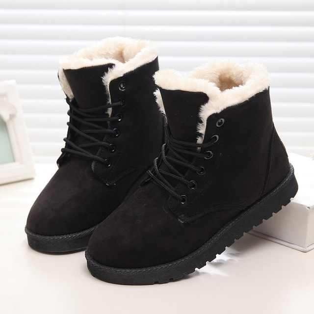 Frauen Winter Schuhe Frauen Stiefel 2019 Mode Frauen Stiefeletten Warme Flock Pelz Schnee Boot Frauen Schuhe Weibliche Winter Stiefel plus Größe