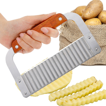 Potato Wavy French Fries Cutter Knife Vegetable French Fry Cutter Wooden Handle Steel Blade Slicer Kitchen Cutting Tools Gadgets potato chips making machine stainless steel french fry potato cutter french fries cutter manual cutting machine kitchen gadgets
