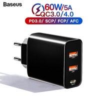 Baseus 60 Вт Быстрая зарядка 4,0 3,0 Мульти USB зарядное устройство для iPhone Samsung iPad Pro Macbook SCP QC4.0 QC3.0 QC Type C PD быстрое зарядное устройство