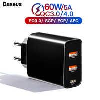 Chargeur rapide Baseus 60w 4.0 3.0 Multi USB pour iPhone Samsung iPad Pro Macbook SCP QC4.0 QC3.0 QC Type C PD chargeur rapide