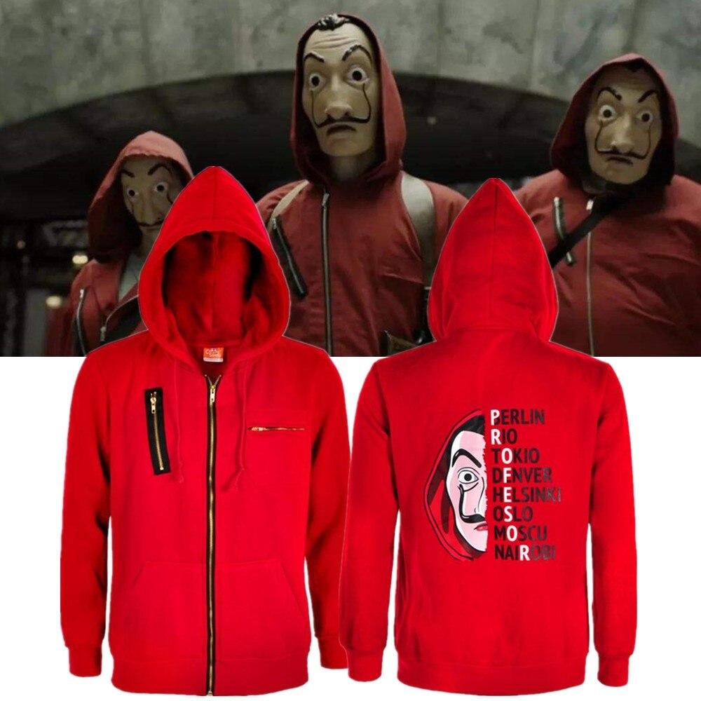 Salvador Dali Robbery Paper House La Casa De Papel Cosplay Costume Money Heist Sweatshirt Hoodie Coat Jacket Men Woman Top