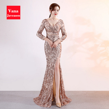 Long Sleeve V-neck Sexy Backless Dress Elegant Women Party Sequins Floral Design Fishtail Dresses Front Slit Reception Vestido