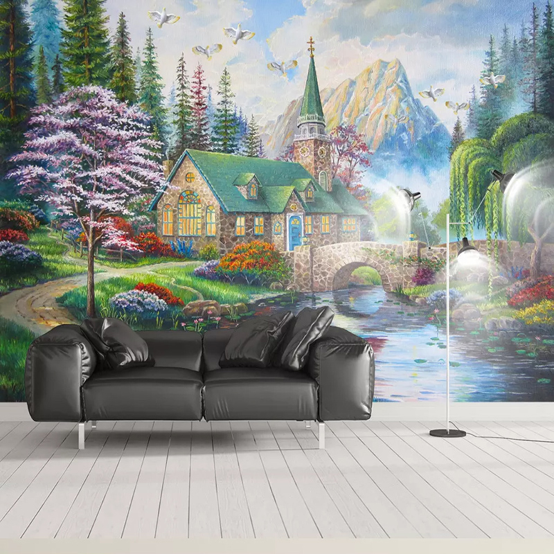 Custom-Photo-Wallpaper-European-Style-3D-Country-Bridge-Forest-Murals-Living-Room-TV-Sofa-Study-Background (1)