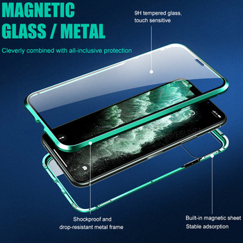 metal magnetic 360 phone case for i phone 11 pro max  XR XSMAX 7 8 PLUS double-sided tempered glass cover iphone 11 case 2