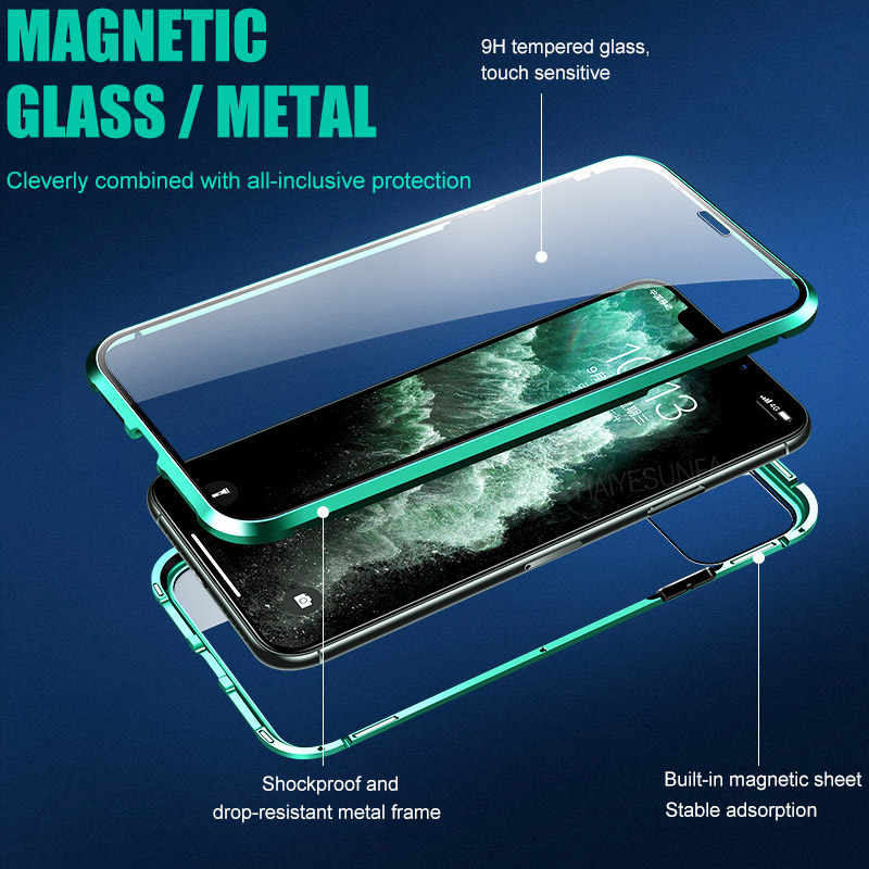 Magnético de metal 360 caixa do telefone para i telefone 11 pro max xr xsmax 7 8 plus capa de vidro temperado de dupla face iphone 11 caso