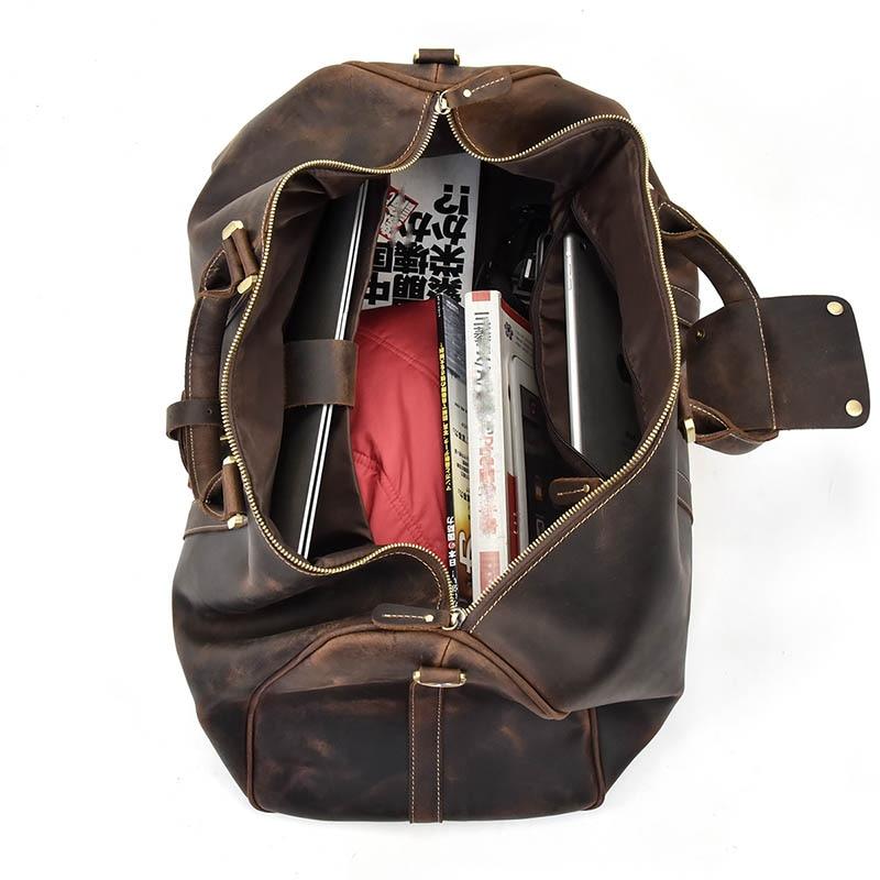 MAHEU мужская дорожная сумка из натуральной кожи, большая дорожная сумка на выходные, мужская сумка из коровьей кожи, сумка для путешествий, ру... - 5