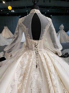 Image 4 - HTL1258 2020 חתונה שמלת boho גבוהה צוואר ארוך שרוול נצנצים ואגלי קריסטל תחרה עד בחזרה כלה שמלות suknia ślubna boho חדש