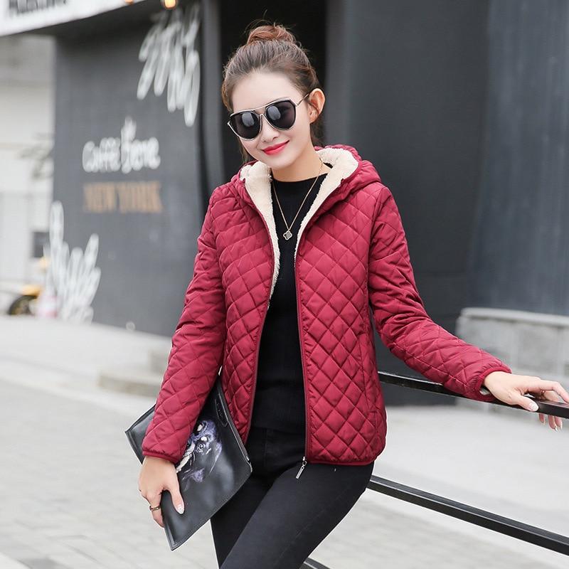 Winter Warm Women Parkas Basic Jackets Plus Velvet Lamb Hooded Coats  Female Cotton Outderwear Jacket