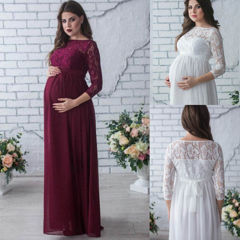 New Pregnant Mother Dress New Maternity Photography Props Women Pregnancy Clothes Lace Dress For Pregnant Photo Shoot Clothing