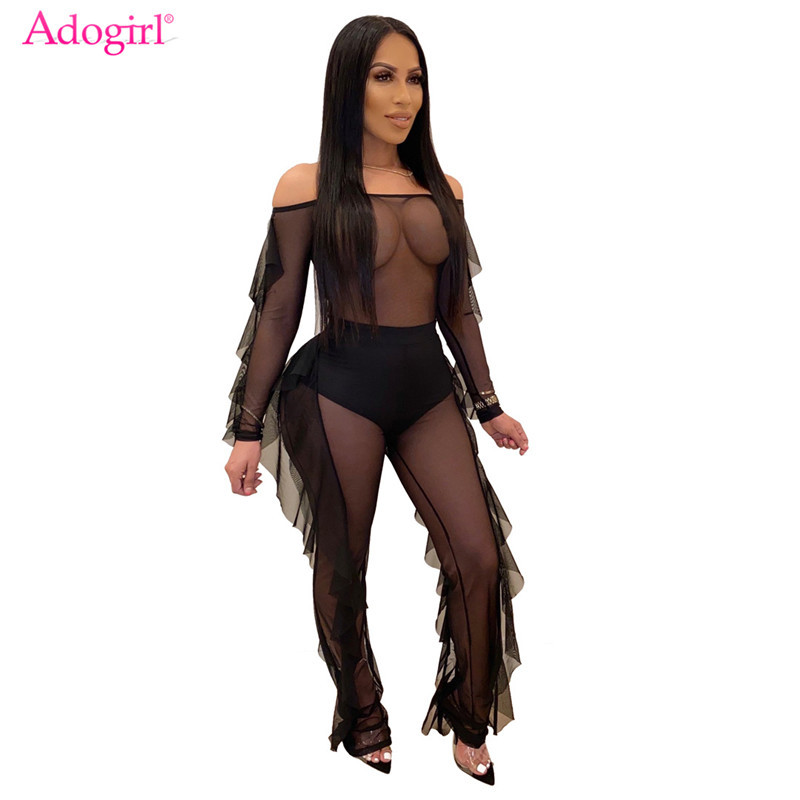 Adogirl Women Sexy Ruffle Sheer Mesh Jumpsuit Slash Neck Long Sleeve Romper With Panty Lined Women Fashion Night Club Overalls