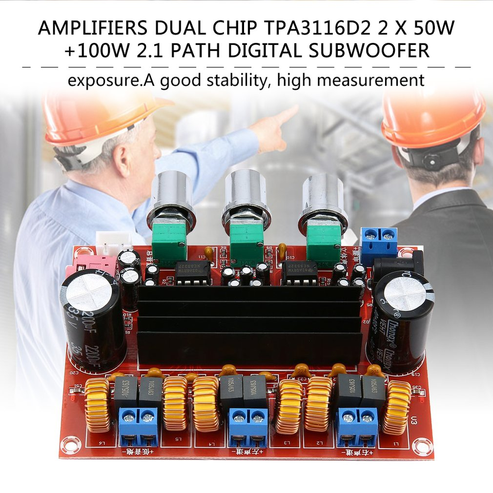 New Version High power Amplifiers Dual Chip TPA3116D2 50Wx2 + 100W 2.1 Path Digital Subwoofer Power Amplifier Board image