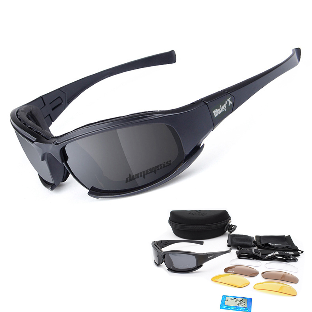 Military Goggles Polarized Tactical Glasses Ballistic 3 Lenses Army Sunglasses D A I S Y Men's Tactical Shooting Eyeshield