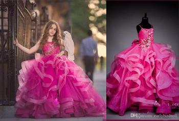 Luxury Fuchsia Spagheti Ball Gown Flower Girl Dresses Crystal Beaded Girl Formal Party Birthday Pageant Gown emerald green girl s pageant dresses for teens princess flower girl dresses birthday party dress ball gown