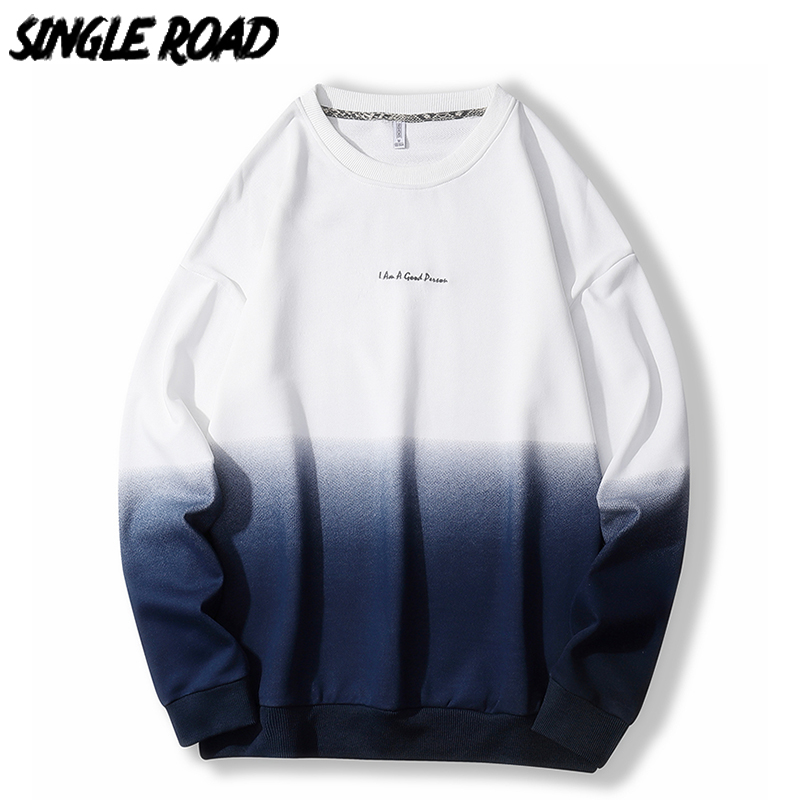 SingleRoad Oversized Crewneck Sweatshirt Men Gradient Patchwork Hip Hop Japanese Streetwear Hoodie Men Sweatshirts Male Hoodies