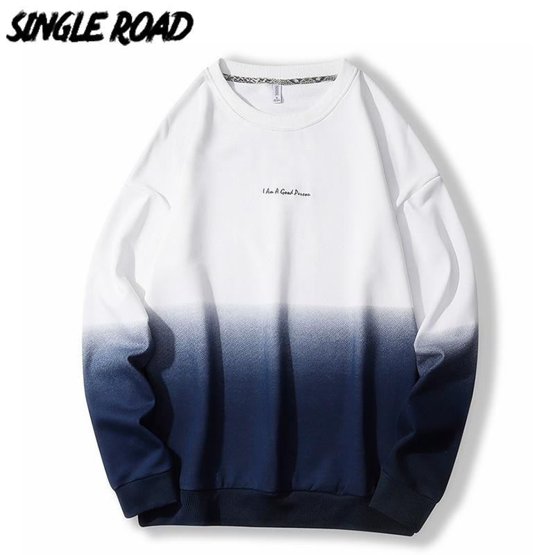 SingleRoad Oversized Crewneck Sweatshirt Men Gradient Patchwork Hip Hop Japanese Streetwear Hoodie Men Sweatshirts Male Hoodies