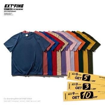Extfine 100% Combed Cotton Short Sleeve T-shirt Men 2021 Summer Casual Tshirt Women Basic Harajuku Soft T Shirt Tops Tee 5