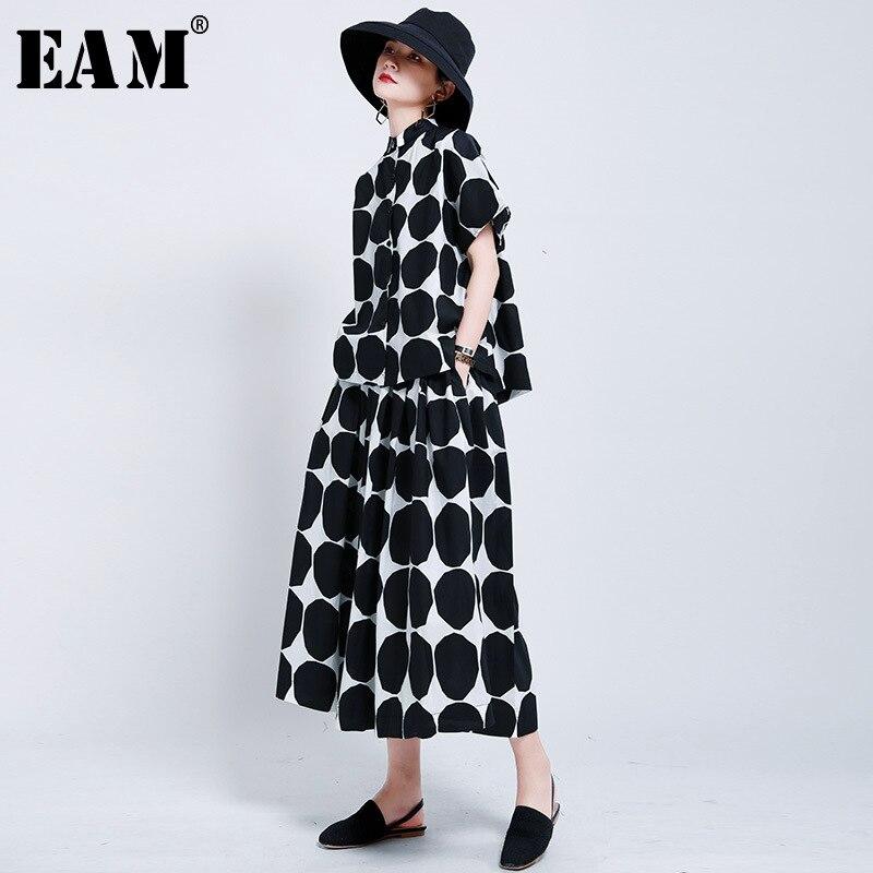 [EAM] High Elastic Waist Black Big Dot Printed Temperament Half-body Skirt Women Fashion Tide New Spring Autumn 2020 1U802