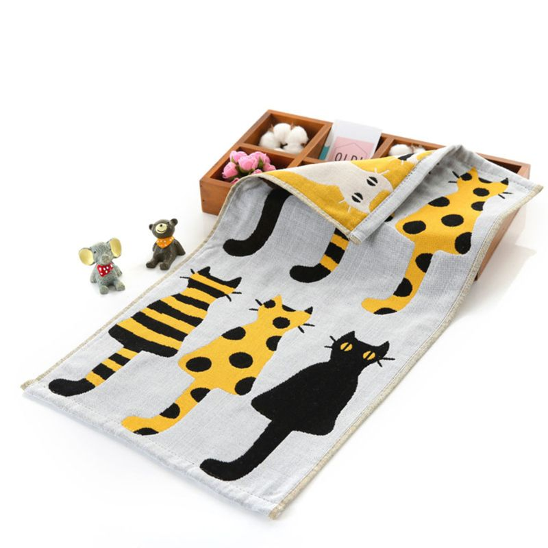 Children Baby Jacquard Small Towel Rectangular Cartoon Kids Face Wash Towels Soft Absorbent Three-layer Cotton Gauze  19QF