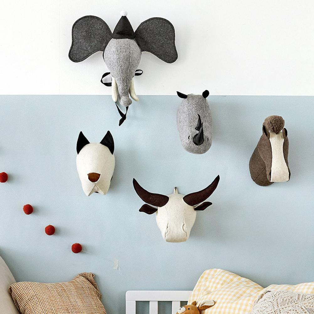 Kids Room Decoration 3D Animal Heads Elephant Rhinoceros Stuffed Toys Wall Hanging For Baby Room Nursery Decor Birthday