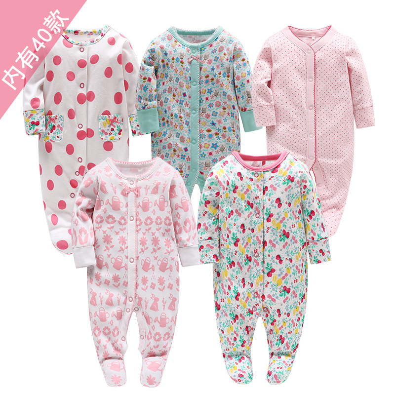 Picturesque Childhood New Born Baby Girl Clothes Pure Cotton Long-sleeved Blouse Rabbit Footies 0-12M Infant Clothing