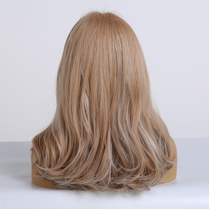Image 2 - ALAN EATON Brown mix Blonde Ash Wig with Bangs Natural Wave Wigs for Women Midium Bob Synthetic Hair wigs Lolita Cosplay Wigs