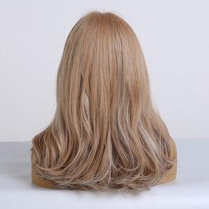Image 5 - ALAN EATON uzun dalgalı peruk kadın kahverengi sarışın doğal saç peruk kadın sentetik kahküllü peruk ısıya dayanıklı iplik Cosplay saç