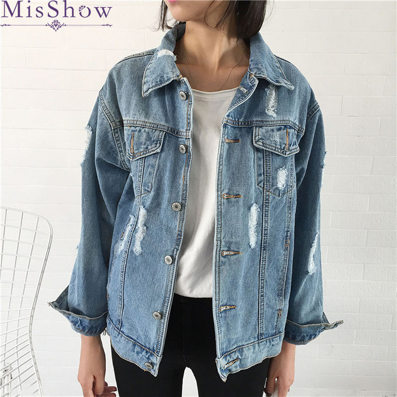 Women Fashion Coat Denim   Jacket   With Hole 2019 Autumn Casual   Jackets   High Street   Basic     Jacket   Outwear Back Hole Frayed