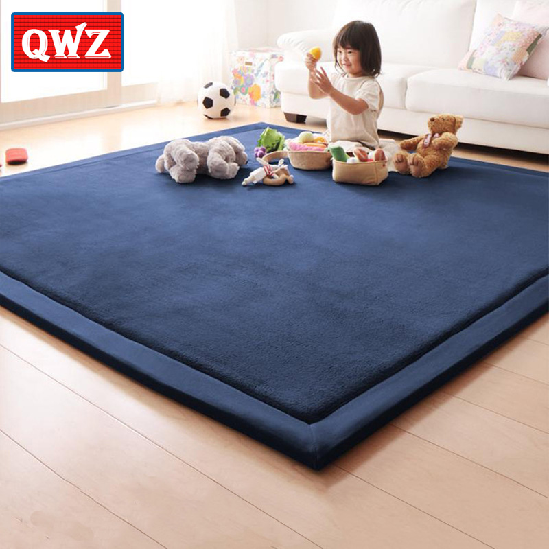 QWZ New 2CM Thick Play Mats Coral Fleece Blanket Barpet Bhildren Baby Crawling Tatami Mats Cushion Mattress For Bedroom