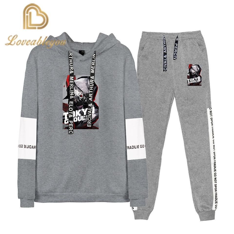 YINUODAIL Tokyo Ghoul Simple Printed Two-piece Sweatshirt Sets Stylish Hoodie Sweatshirt Long Sleeve+Loose Pants Casual Suits