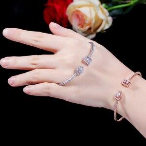 Image 5 - Erluer manguito pulseiras ajustáveis para mulheres jóias por atacado moda zircão charme cristal senhoras mão pulseira presente amante menina