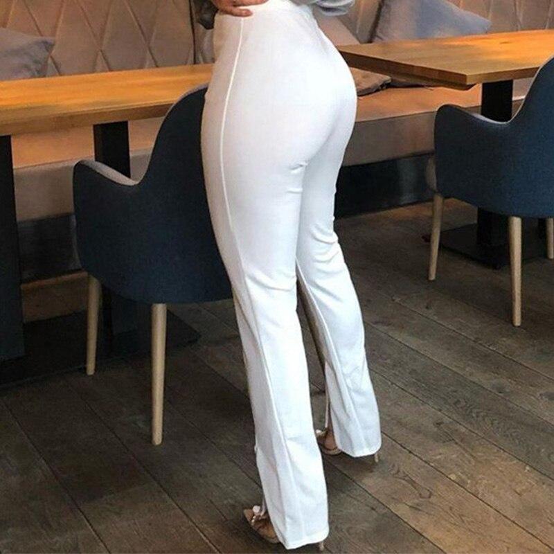 Узкие женские брюки-карандаш с разрезом и высокой талией, весенние уличные женские брюки 2021, модные однотонные повседневные Черные и белые ...