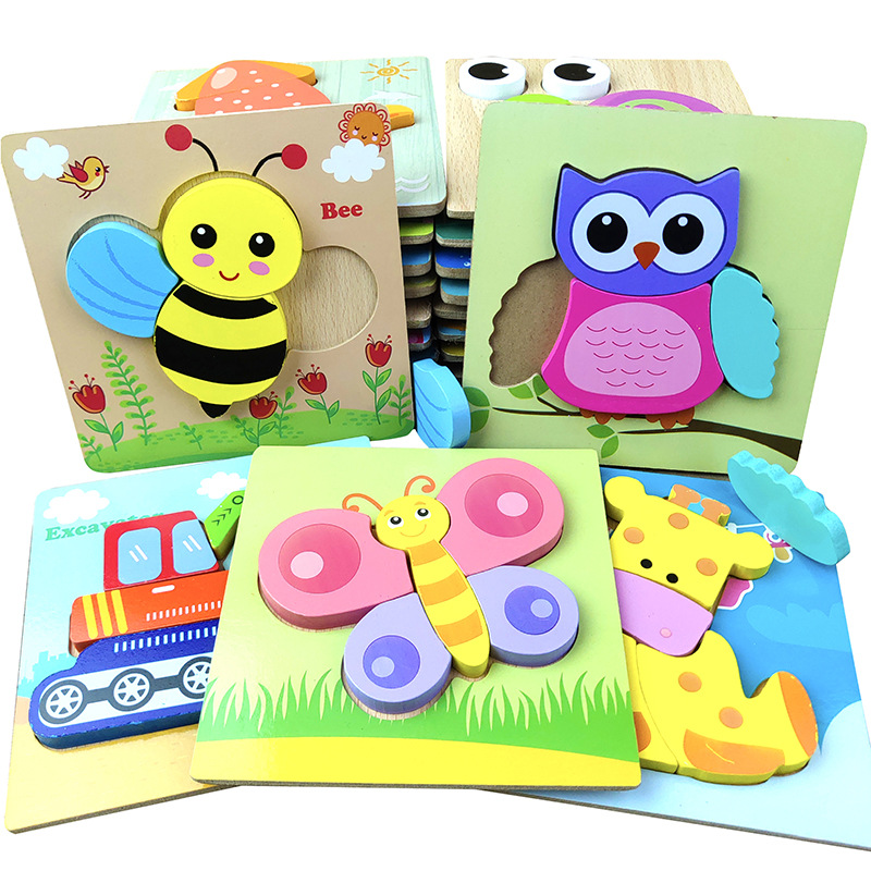 Three-dimensional Thick Hand Grab Board Cute Animal Jigsaw Puzzle Wooden Toys For Child Kids Baby Early Educational Learning Toy