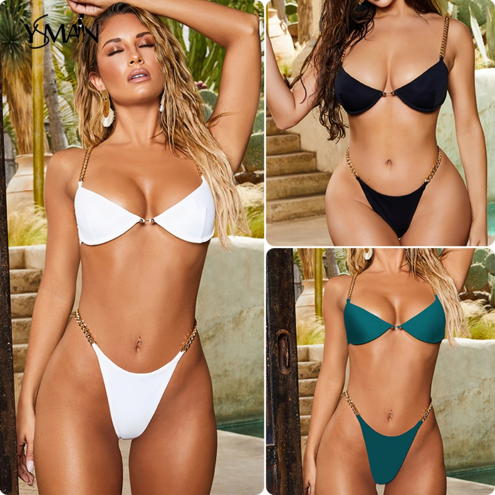 Yisiman Sexy Ring Bikini Set Iron Chain Suit Deep V-neck White Swimsuit Female Summer Bathers 2020 Thong Bikini Set Biquinis XL