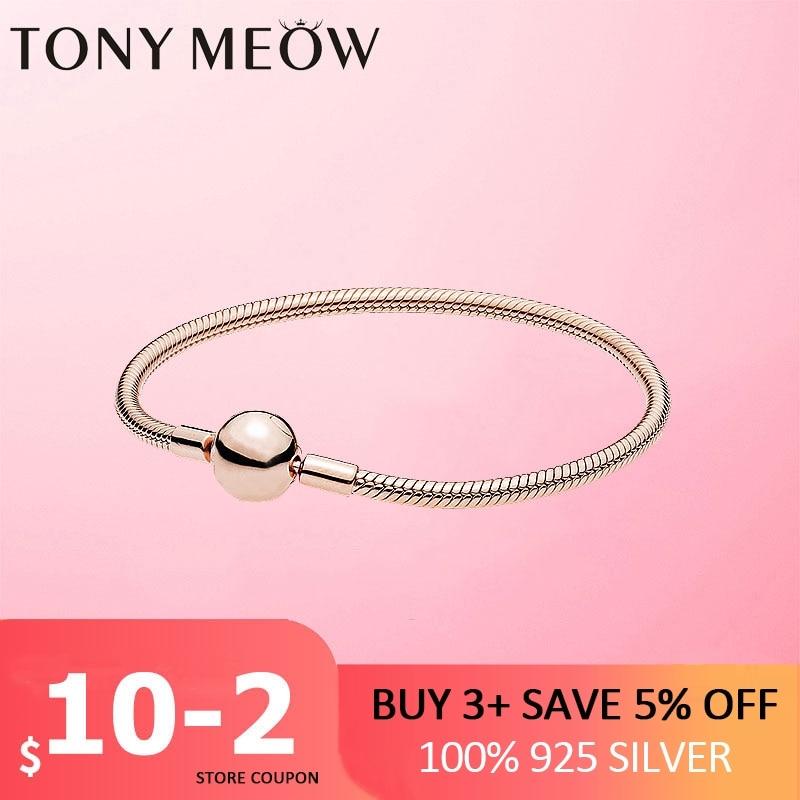 Silver Bracelet 925 Sterling Silver Simple Snake Chain Charms Beads fit women silver Bracelet & Bangle Silver Fine Jewelry Gift