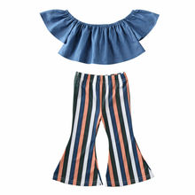 Toddler Baby Girl Clothing Set Kid Off Shoulder Ruffle Demin Tops Rainbow Striped Long Pants Outfits Childer's Clothes for Girl юбка demin