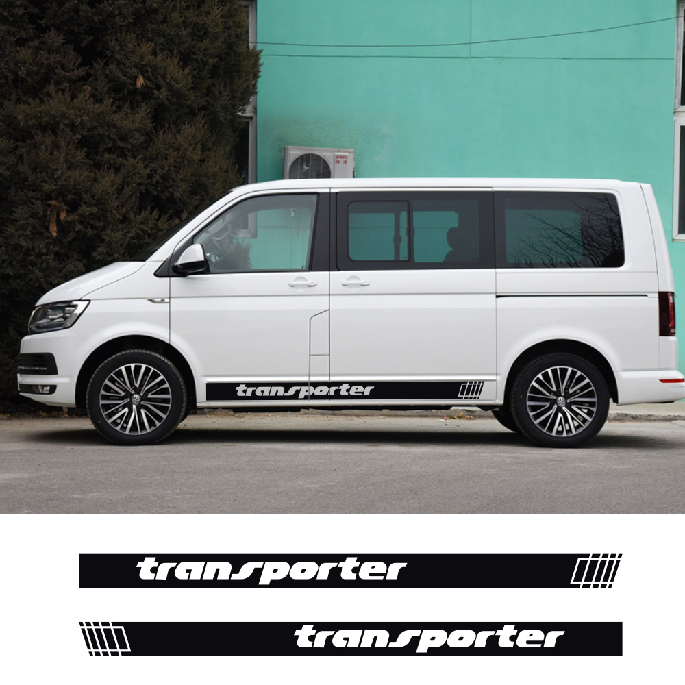 2PCS Car Door Side Skirt Graphic Stripes Decals For Volkswagen VW Transporter Multivan T4 T5 T6 Auto Decor Stickers Accessories
