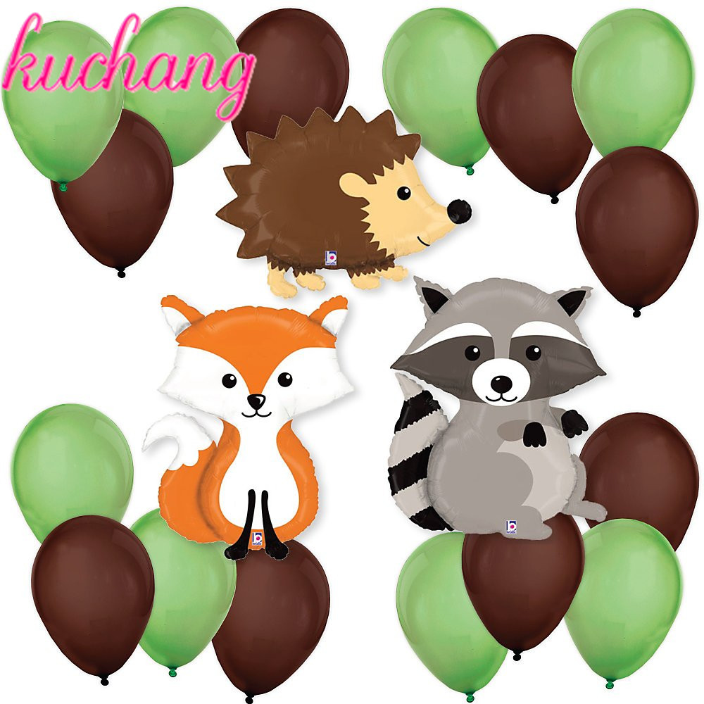 Forest Animal Balloons Raccoon, Fox Helium <font><b>Ballon</b></font> Happy Birthday Party Decorations Kids Baby Shower Decor Toy image