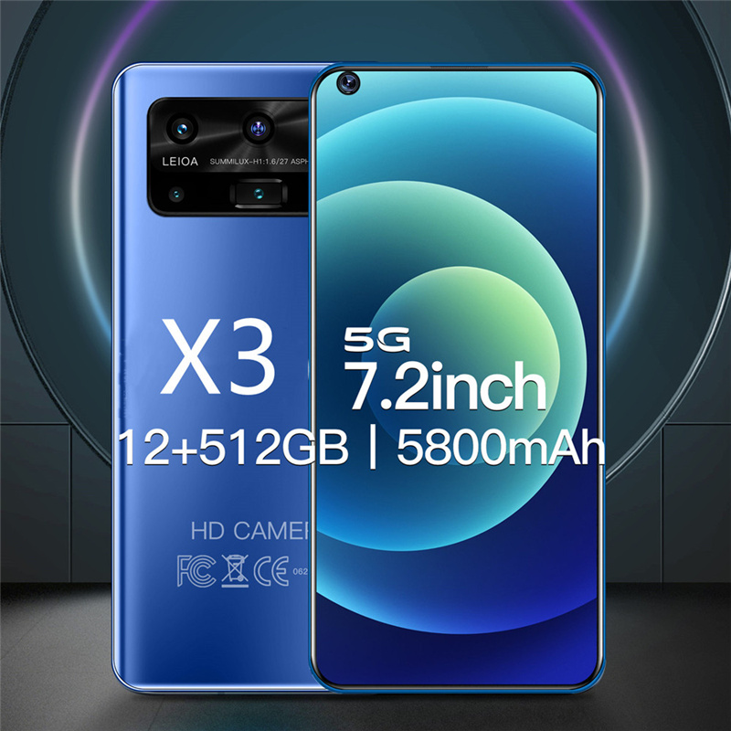 Smartphone Android X3 12GB 512GB Celulares Octa Core HD Camera 7.2
