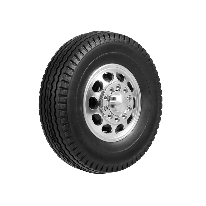 Front & Rear Rubber Low Loader Wheels Tire Tyre With CNC Aluminum Rims for Tamiya 1/14 RC Tractor Trailer Truck