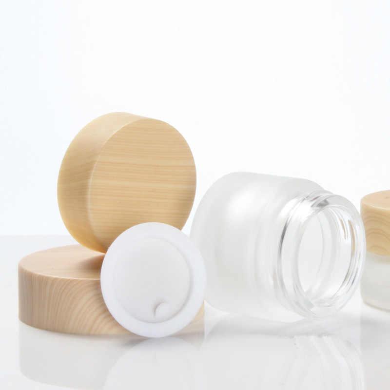 12 Pcs X 5G 10G 20G 30G 50G Frost Kaca Kosmetik Krim Jar dengan Kayu butir Tutup Makeup Kulit Lotion Wadah Pot Botol
