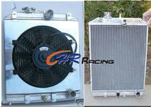 Radiador central de aluminio para Honda Civic EK EG B16 B18 92 00 + ventilador + cubierta, tubo de entrada/salida de 32MM, 3 radiadores, 92-00