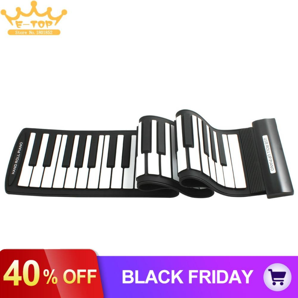 MD61 Flexible 61Keys Professional MIDI Keyboard Electronic Roll Up Piano for Children