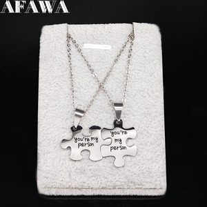 2020 You are My Person Stainless Steel Couple Chain Necklace Men/Women Jigsaw Puzzle Statement Necklace Jewelry joyas N1863S01(China)