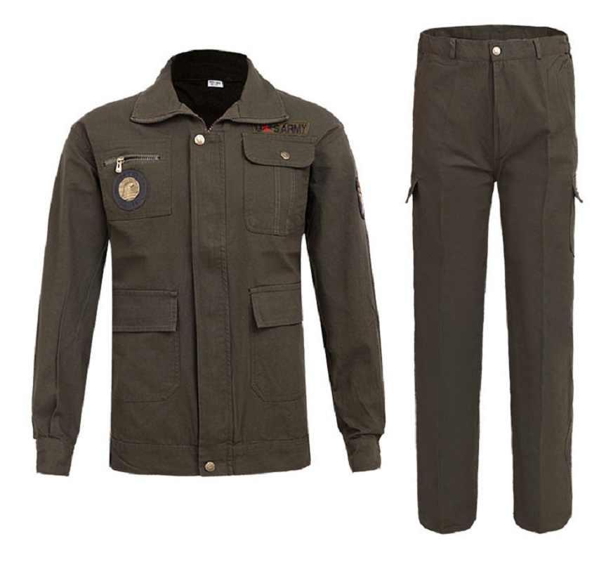 Mannen Werken Kleding Sets Lasser Uniformen slijtvaste Outdoor Kleding Lange Mouw Jassen + Broek Mannelijke Werkende Fabriek Uniformen
