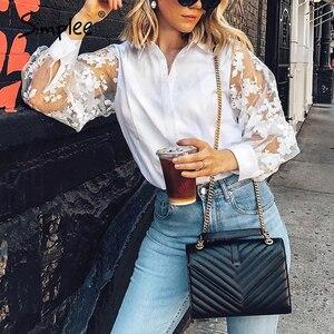 Image 1 - Simplee אלגנטי פרל רשת חולצה חולצה נשים פאף שרוול נקבה לבן למעלה חולצה אביב לבן מזדמן מסיבת ללבוש גבירותיי עבודה חולצות