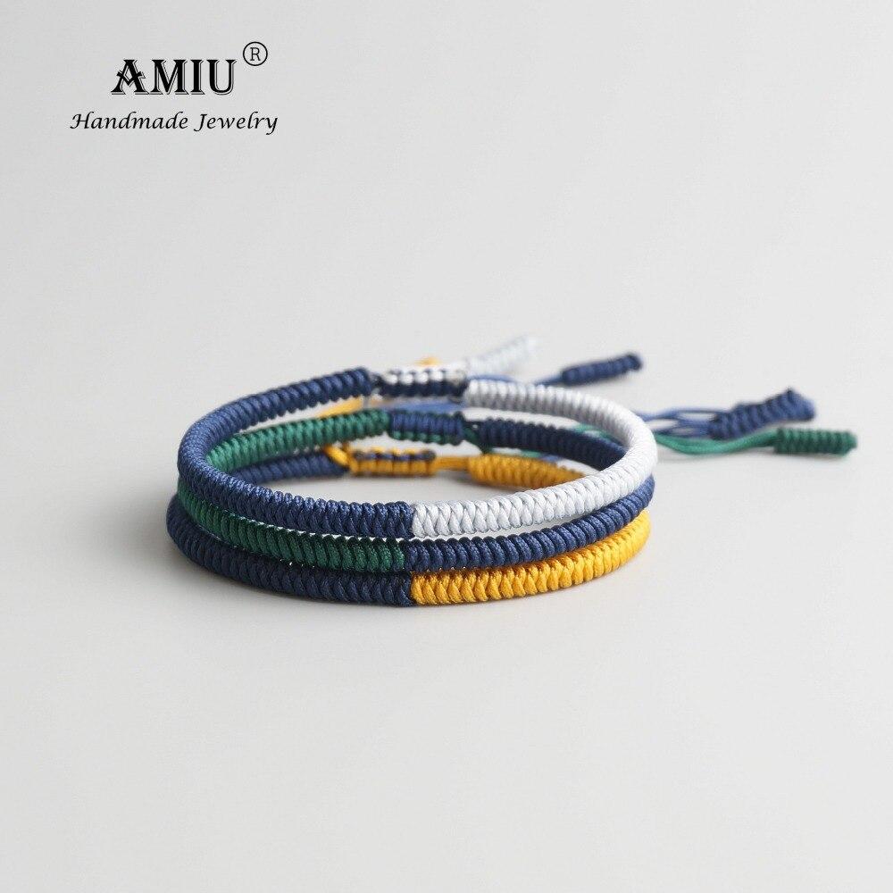 AMIU 3PCS Tibetan Jewelry Buddhism Good Lucky Charm Tibet Bracelets & Bangles For Women And Men Handmade Knots Rope Bracelet(China)