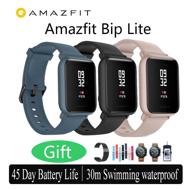 Versão internacional Amazônia 3ATM Bip Lite Relógio Inteligente 45-Dia de Vida Útil Da Bateria de Água-resistência à Água-resistência huami smartwatch