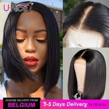 "Unice שיער 13*4/6 תחרה מול שיער טבעי פאות 8 14 ""ישר קצר בוטה לחתוך בוב עבור שחור נשים עמוק חלק קצר ברזילאי פאות"