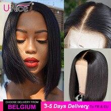 """Unice Hair 13*4/6ลูกไม้ด้านหน้าด้านหน้ามนุษย์Wigs 8 14 """"ตรงสั้นตัดBobผู้หญิงสีดำส่วนลึกสั้นWigsบราซิล"""