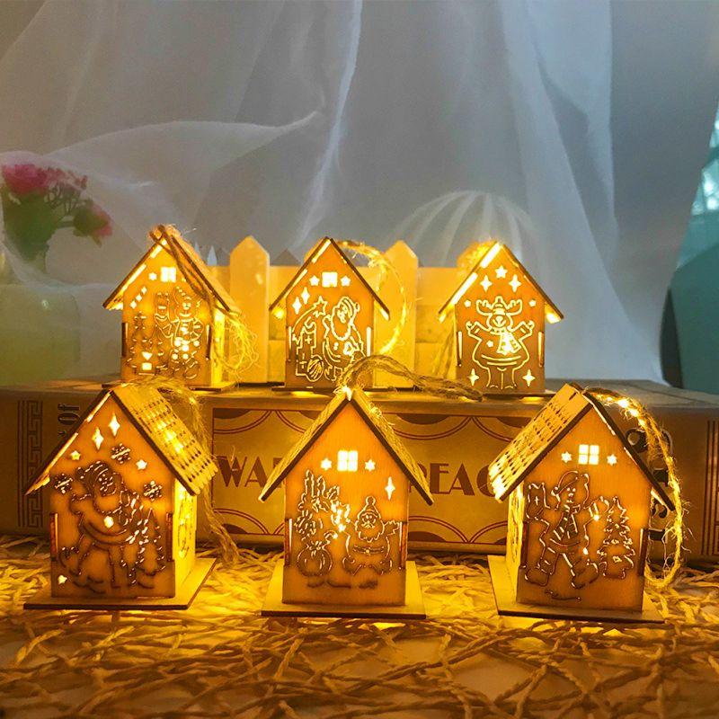 Светодиодный деревянный дом, украшение для семейного сада, рождественской вечеринки, свадьбы, праздника, вечеринки, елки - 5